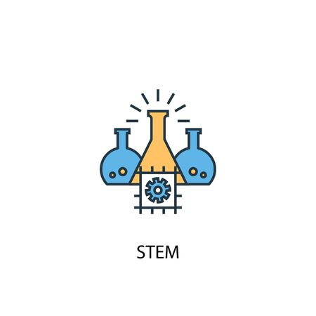 STEM concept 2 colored line icon. Simple yellow and blue element illustration. STEM concept outline symbol Illustration