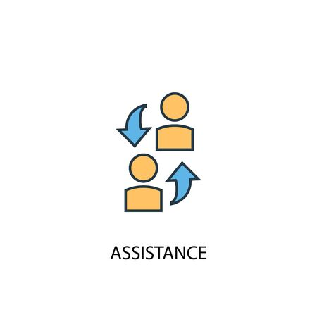 assistance concept 2 colored line icon. Simple yellow and blue element illustration. assistance concept outline design