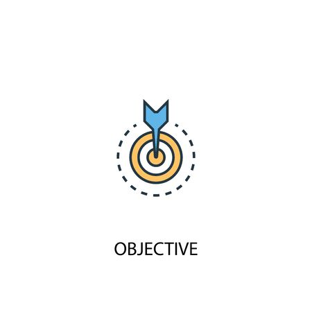 objective concept 2 colored line icon. Simple yellow and blue element illustration. objective concept outline design 向量圖像