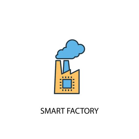 smart factory concept 2 colored line icon. Simple yellow and blue element illustration. smart factory concept outline design