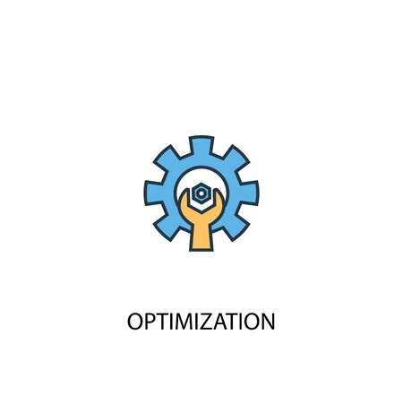 optimization concept 2 colored line icon. Simple yellow and blue element illustration. optimization concept outline design