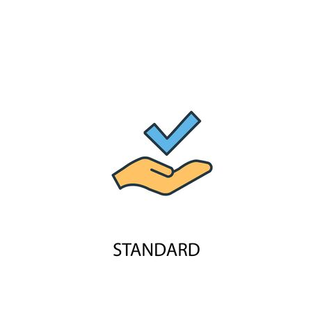 standard concept 2 colored line icon. Simple yellow and blue element illustration. standard concept outline design
