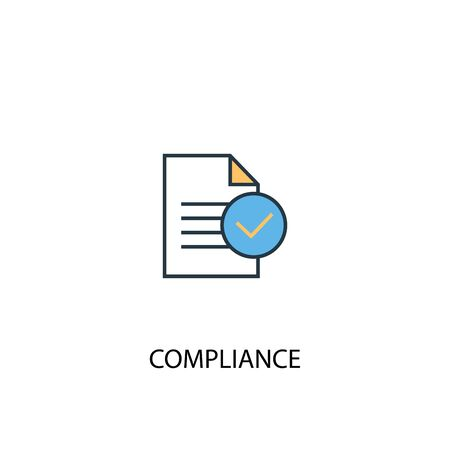compliance concept 2 colored line icon. Simple yellow and blue element illustration. compliance concept outline design