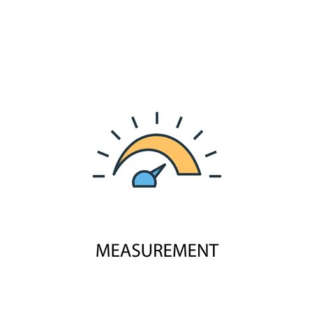 measurement concept 2 colored line icon. Simple yellow and blue element illustration. measurement concept outline design