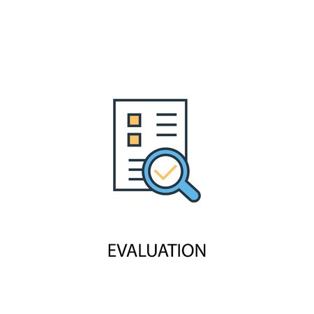 evaluation concept 2 colored line icon. Simple yellow and blue element illustration. evaluation concept outline design