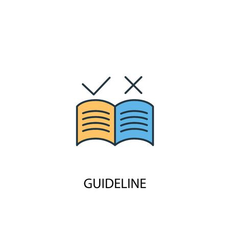 guideline concept 2 colored line icon. Simple yellow and blue element illustration. guideline concept outline design