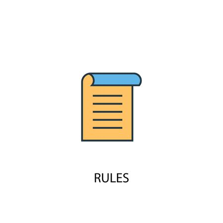 rules concept 2 colored line icon. Simple yellow and blue element illustration. rules concept outline design