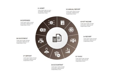 Accounting Infographic 10 steps circle design.Asset, Annual report, Net Income, Accountant icons