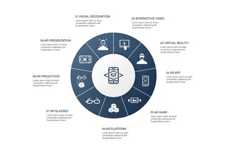 Augmented reality Infographic 10 steps circle design.Facial Recognition, AR app, AR game, Virtual Reality icons