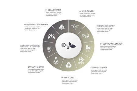 Alternative energy Infographic 10 steps circle design.Solar Power, Wind Power, Geothermal Energy, Recycling icons Çizim