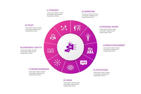 brand promotion Infographic 10 steps circle design.strategy, marketing, personal brand, advertising icons