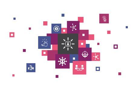 affiliate marketing Infographic 10 steps pixel design. Affiliate Link, Commission, Conversion, Cost per Click icons Illusztráció