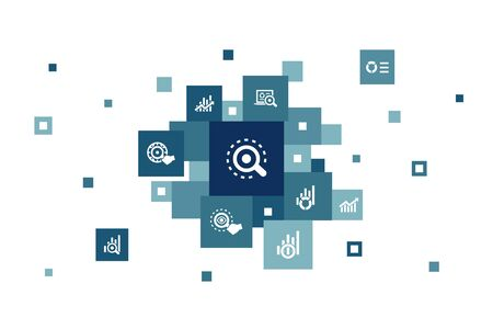 analytics Infographic 10 steps pixel design. linear graph, web research, trend, monitoring icons Çizim