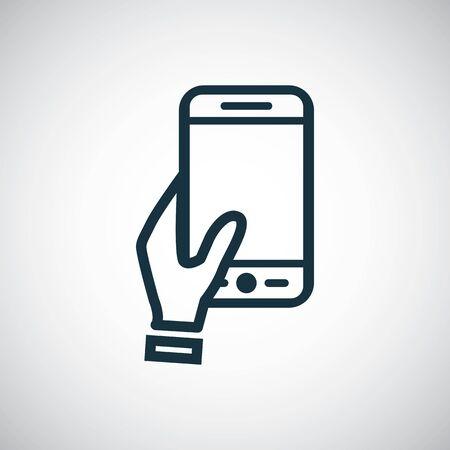 holding smartphone icon, on white background.