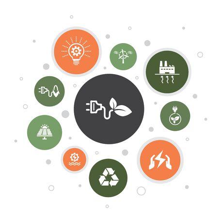 Énergie alternative Infographie 10 étapes de conception de bulles. Énergie solaire, énergie éolienne, énergie géothermique, icônes de recyclage