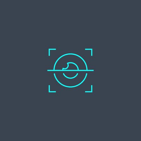 iris recognition concept blue line icon. Simple thin element on dark background. iris recognition concept outline symbol design. Can be used for web and mobile 向量圖像