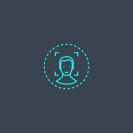 face authentication concept blue line icon. Simple thin element on dark background. face authentication concept outline symbol design. Can be used for web and mobile