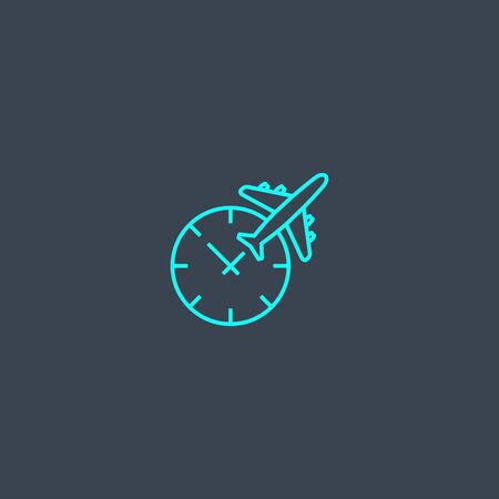 time to travel concept blue line icon. Simple thin element on dark background. time to travel concept outline symbol design. Can be used for web and mobile Ilustração