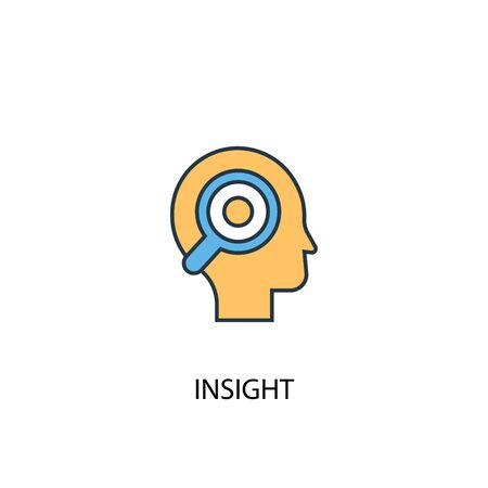 insight concept 2 colored line icon. Simple yellow and blue element illustration. insight concept outline design Stock Illustratie
