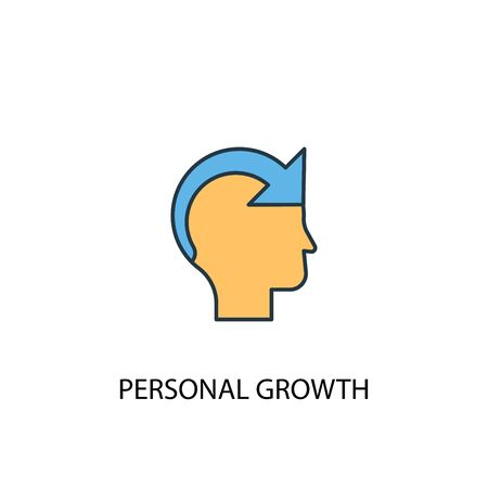 personal growth concept 2 colored line icon. Simple yellow and blue element illustration. personal growth concept outline design Ilustrace