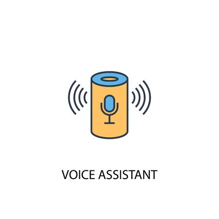 voice assistant concept 2 colored line icon. Simple yellow and blue element illustration. voice assistant concept outline design