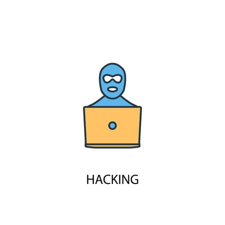 Printhacking concept 2 colored line icon. Simple yellow and blue element illustration. hacking concept outline symbol design