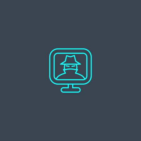 spyware concept blue line icon. Simple thin element on dark background. spyware concept outline symbol design. Can be used for web and mobile Illustration