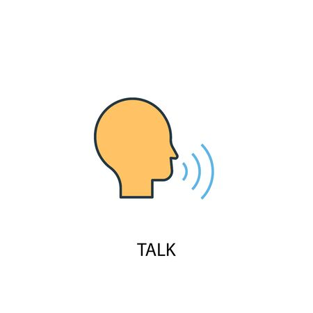 talk concept 2 colored line icon. Simple yellow and blue element illustration. talk concept outline design