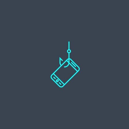mobile phishing concept blue line icon. Simple thin element on dark background. mobile phishing concept outline symbol design. Can be used for web and mobile Ilustração