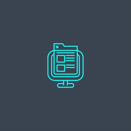 front end concept blue line icon. Simple thin element on dark background. front end concept outline symbol design. Can be used for web and mobile
