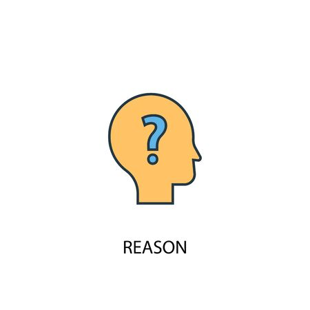 reason concept 2 colored line icon. Simple yellow and blue element illustration. reason concept outline design Banco de Imagens - 130895194