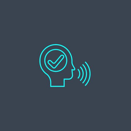 voice authentication concept blue line icon. Simple thin element on dark background. voice authentication concept outline symbol design. Can be used for web and mobile