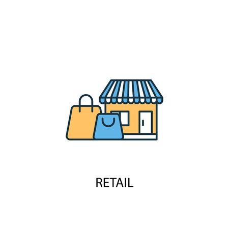 retail concept 2 colored line icon. Simple yellow and blue element illustration. retail concept outline design