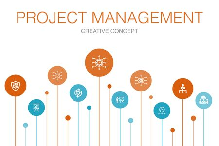 Project management Infographic 10 steps circle design. Project presentation, Meeting, workflow, Risk management simple icons