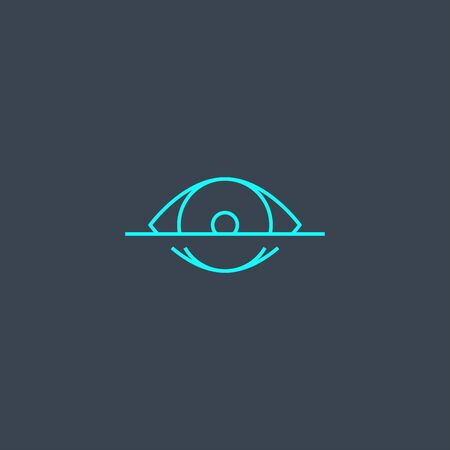 eye scanning concept blue line icon. Simple thin element on dark background. eye scanning concept outline symbol design. Can be used for web and mobile