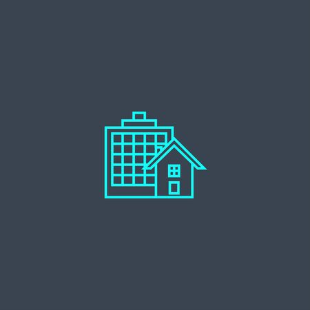 Property Type concept blue line icon. Simple thin element on dark background. Property Type concept outline symbol design. Can be used for web and mobile