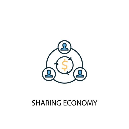 sharing economy concept 2 colored line icon. Simple yellow and blue element illustration. sharing economy concept outline design