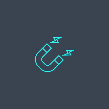 attract concept blue line icon. Simple thin element on dark background. attract concept outline symbol design. Can be used for web and mobile Ilustração
