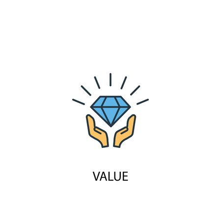 value concept 2 colored line icon. Simple yellow and blue element illustration. value concept outline design