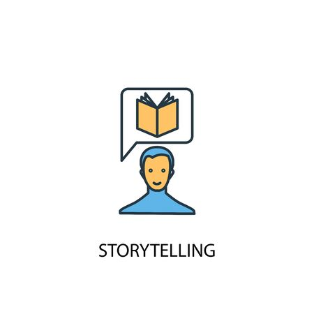 storytelling concept 2 colored line icon. Simple yellow and blue element illustration. storytelling concept outline design  イラスト・ベクター素材