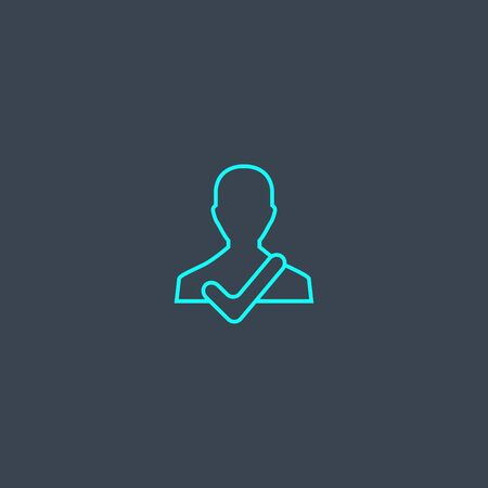 reliability concept blue line icon. Simple thin element on dark background. reliability concept outline symbol design. Can be used for web and mobile