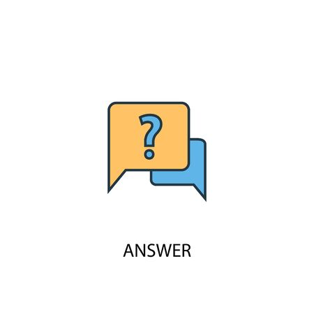 answer concept 2 colored line icon. Simple yellow and blue element illustration. answer concept outline design 向量圖像