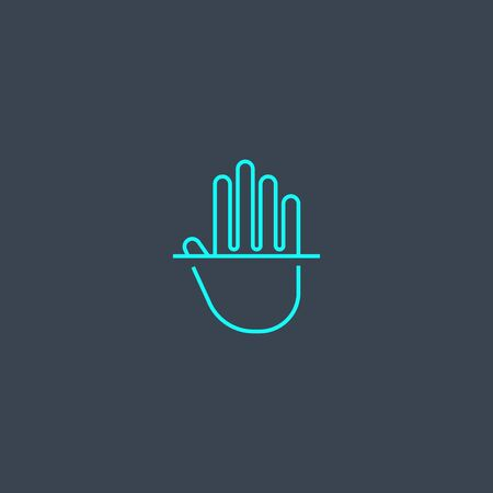 palm recognition concept blue line icon. Simple thin element on dark background. palm recognition concept outline symbol design. Can be used for web and mobile