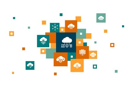 Cloud computing Infographic 10 steps pixel design.Cloud Backup, data center, SaaS, Service provider icons