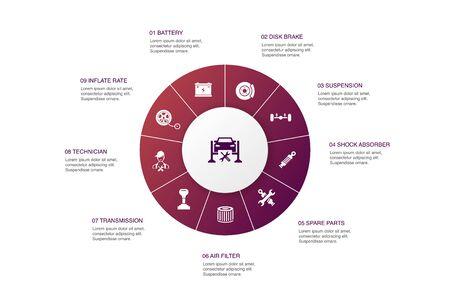 Car service Infographic 10 steps circle design. disk brake, suspension, spare parts, Transmission simple icons