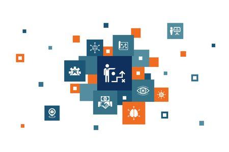 Business strategy Infographic 10 steps pixel design.planning, business model, vision, development icons Ilustração