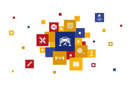 Car service Infographic 10 steps pixel design.disk brake, suspension, spare parts, Transmission icons