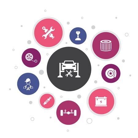 Car service Infographic 10 steps bubble design. disk brake, suspension, spare parts, Transmission simple icons