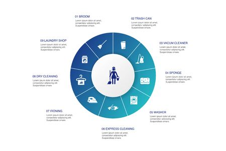 Cleaning Infographic 10 steps circle design. broom, trash can, sponge, dry cleaning icons Illustration
