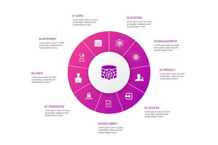 DMS Infographic 10 steps circle design. system, management, privacy, password icons
